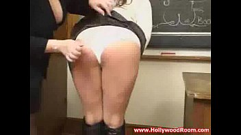 Hot School Teacher in Pantyhose Femdom Handjob and Footjob - Cum on Legs